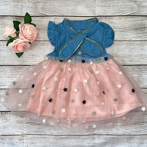 Denim Mesh Dress