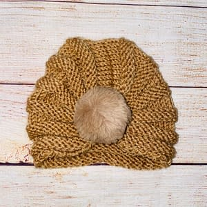 Adorable Tan Knitted Turban With Faux Fur Ball